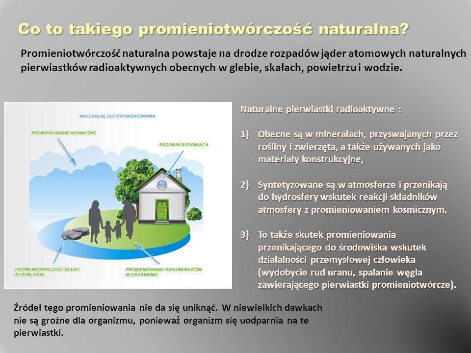 Naturalne pierwiastki radioaktywne : 1)Obecne są w minerałach, przyswajanych przez rośliny i zwierzęta, a także używanych jako materiały konstrukcyjne