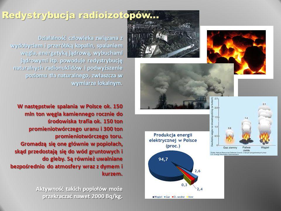 Działalność człowieka związana z wydobyciem i przeróbką kopalin, spalaniem węgla, energetyką jądrową, wybuchami jądrowymi itp. powoduje redystrybucję