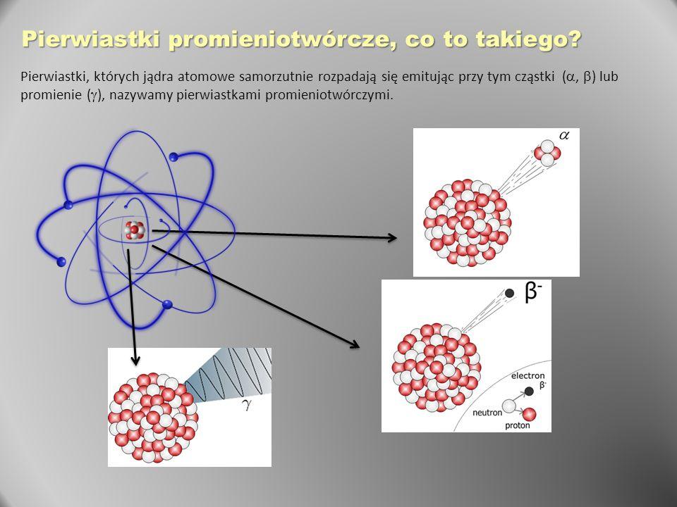 Pierwiastki promieniotwórcze, co to takiego? Pierwiastki, których jądra atomowe samorzutnie rozpadają się emitując przy tym cząstki ( ,  ) lub promi