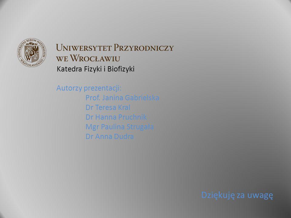 Dziękuję za uwagę Autorzy prezentacji: Prof. Janina Gabrielska Dr Teresa Kral Dr Hanna Pruchnik Mgr Paulina Strugała Dr Anna Dudra Katedra Fizyki i Bi