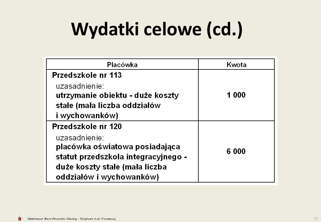Dzielnicowe Biuro Finansów Oświaty - Targówek m.st. Warszawy 17 Wydatki celowe (cd.)