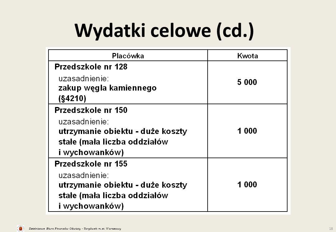 Dzielnicowe Biuro Finansów Oświaty - Targówek m.st. Warszawy 18 Wydatki celowe (cd.)