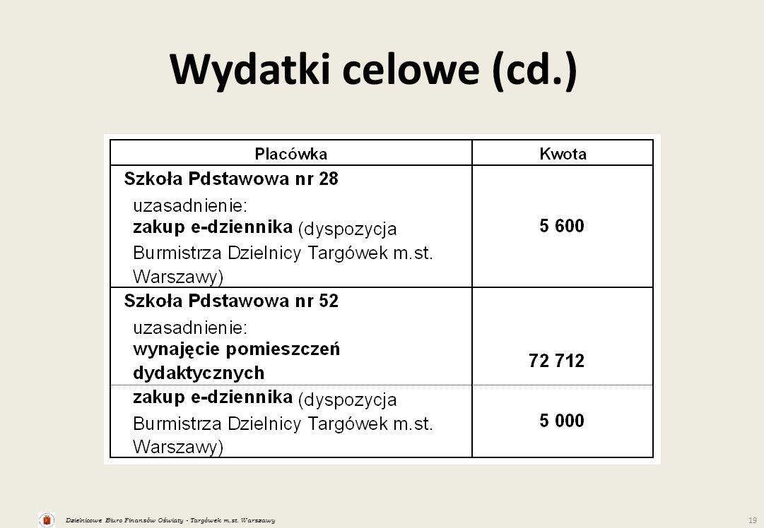 Dzielnicowe Biuro Finansów Oświaty - Targówek m.st. Warszawy 19 Wydatki celowe (cd.)