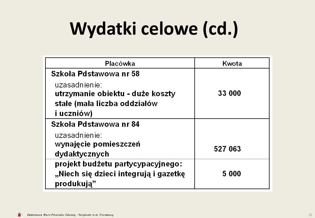 Dzielnicowe Biuro Finansów Oświaty - Targówek m.st. Warszawy 20 Wydatki celowe (cd.)