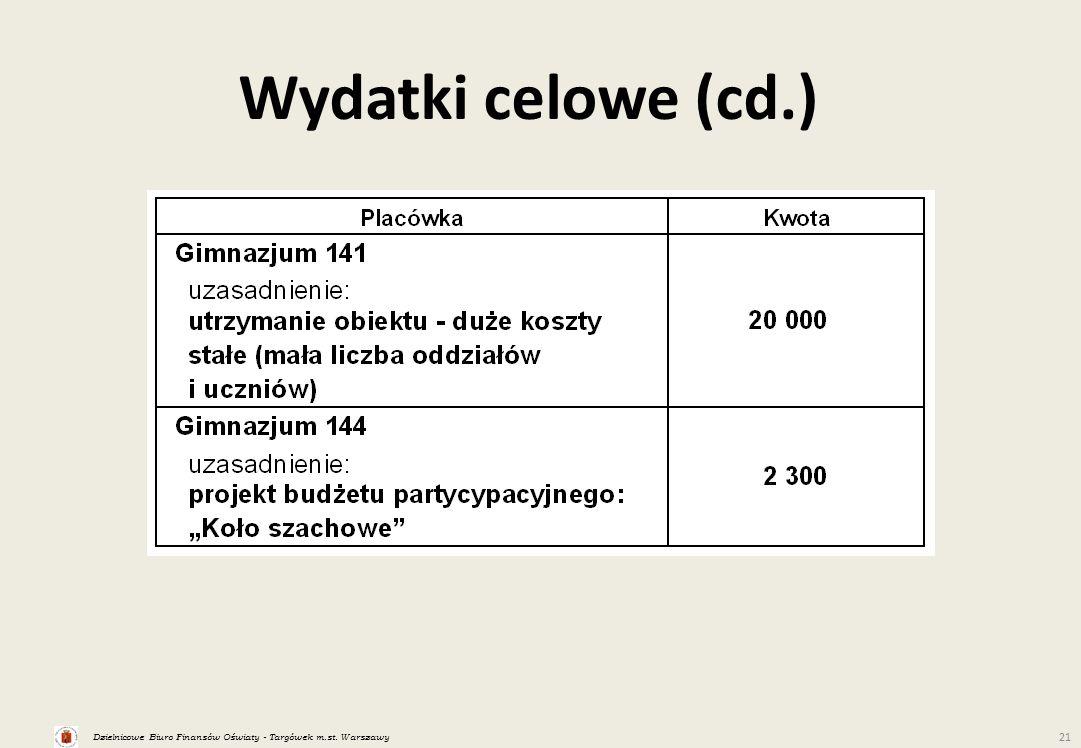 Dzielnicowe Biuro Finansów Oświaty - Targówek m.st. Warszawy 21 Wydatki celowe (cd.)