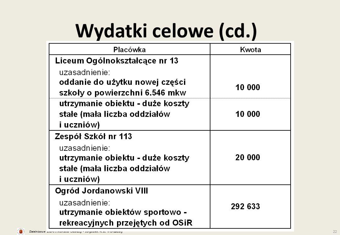 Dzielnicowe Biuro Finansów Oświaty - Targówek m.st. Warszawy 22 Wydatki celowe (cd.)