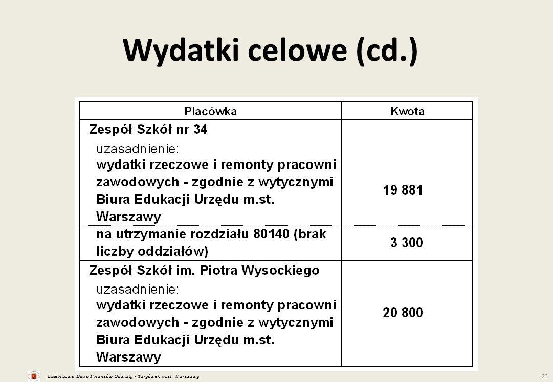 Dzielnicowe Biuro Finansów Oświaty - Targówek m.st. Warszawy 23 Wydatki celowe (cd.)