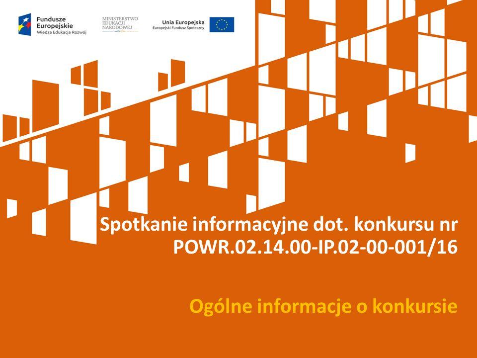 Spotkanie informacyjne dot. konkursu nr POWR.02.14.00-IP.02-00-001/16 Ogólne informacje o konkursie
