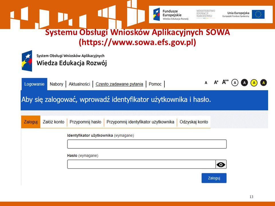 Systemu Obsługi Wniosków Aplikacyjnych SOWA (https://www.sowa.efs.gov.pl) 13