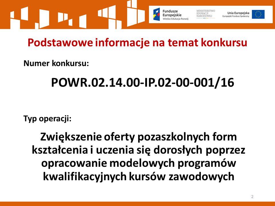 Podstawowe informacje na temat konkursu Numer konkursu: POWR.02.14.00-IP.02-00-001/16 Typ operacji: Zwiększenie oferty pozaszkolnych form kształcenia i uczenia się dorosłych poprzez opracowanie modelowych programów kwalifikacyjnych kursów zawodowych 2