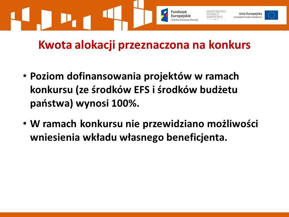 Kwota alokacji przeznaczona na konkurs Poziom dofinansowania projektów w ramach konkursu (ze środków EFS i środków budżetu państwa) wynosi 100%.