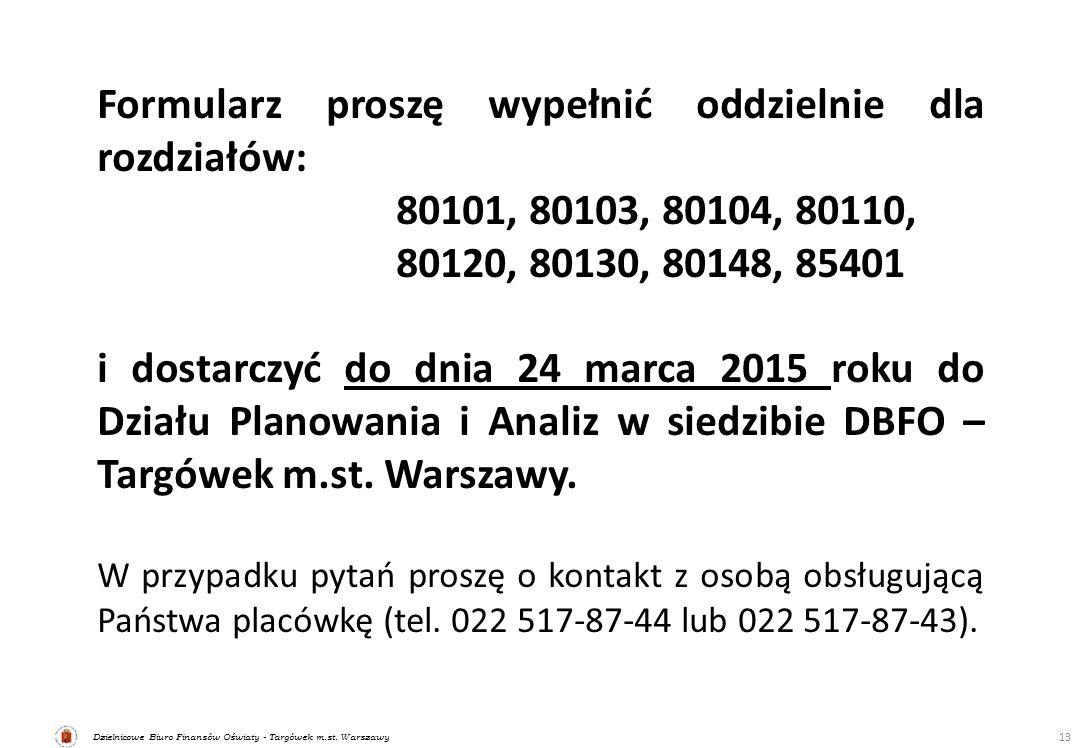 Dzielnicowe Biuro Finansów Oświaty - Targówek m.st. Warszawy 13 Formularz proszę wypełnić oddzielnie dla rozdziałów: 80101, 80103, 80104, 80110, 80120