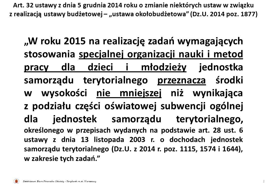Dzielnicowe Biuro Finansów Oświaty - Targówek m.st. Warszawy Art. 32 ustawy z dnia 5 grudnia 2014 roku o zmianie niektórych ustaw w związku z realizac