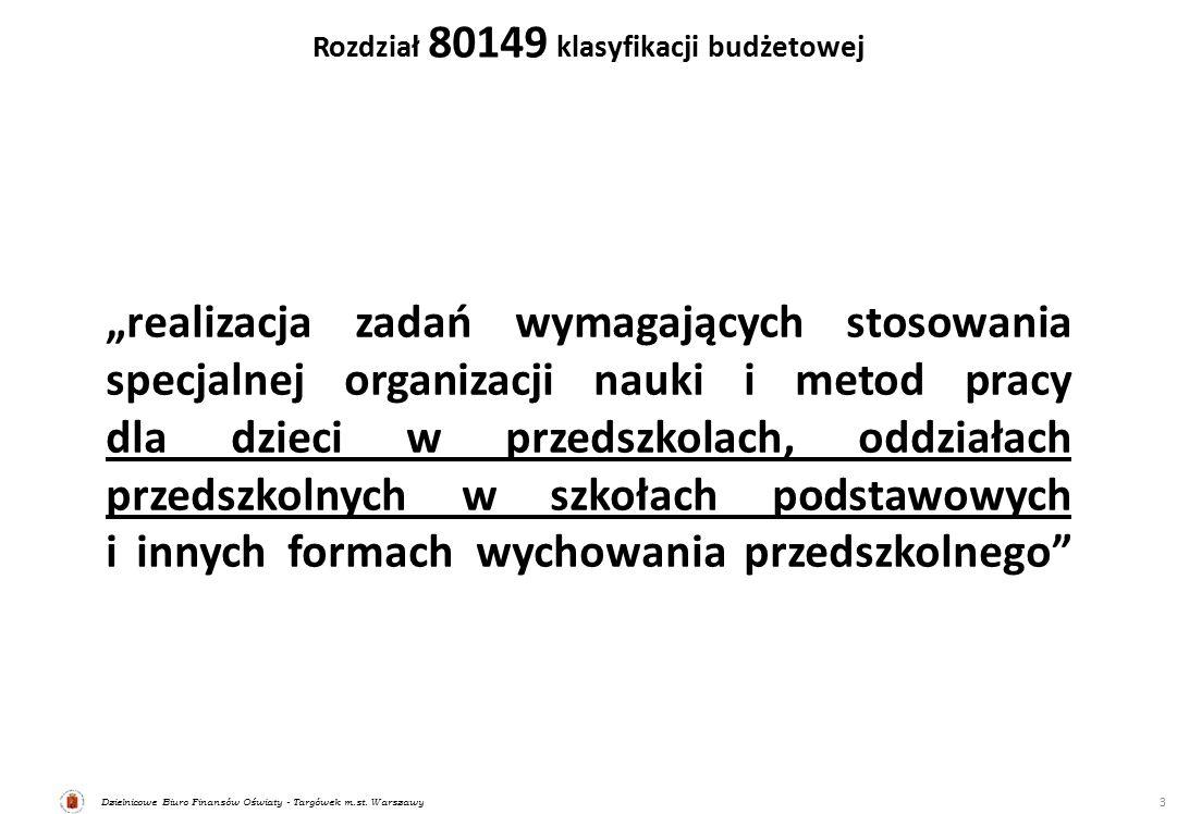"""Dzielnicowe Biuro Finansów Oświaty - Targówek m.st. Warszawy Rozdział 80149 klasyfikacji budżetowej 3 """"realizacja zadań wymagających stosowania specja"""
