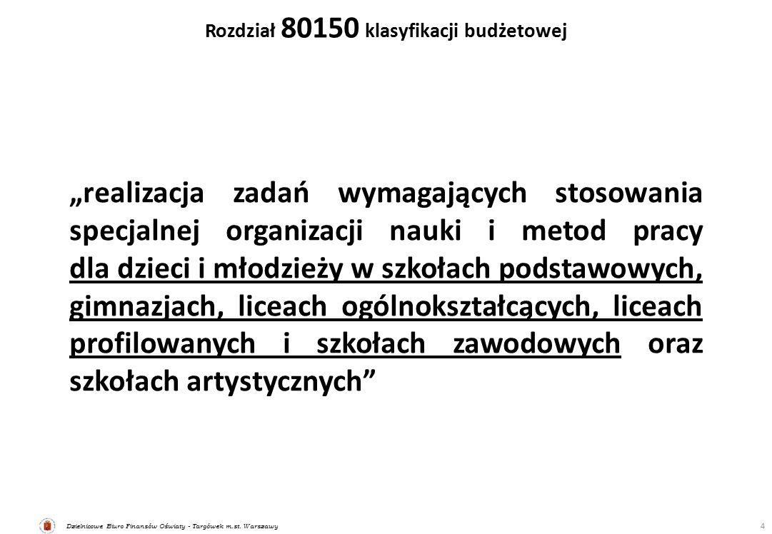 """Dzielnicowe Biuro Finansów Oświaty - Targówek m.st. Warszawy Rozdział 80150 klasyfikacji budżetowej 4 """"realizacja zadań wymagających stosowania specja"""