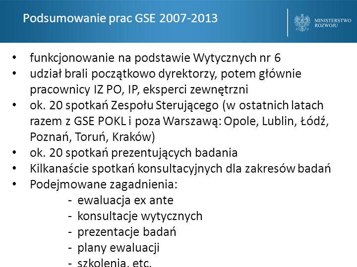 Podsumowanie prac GSE 2007-2013 funkcjonowanie na podstawie Wytycznych nr 6 udział brali początkowo dyrektorzy, potem głównie pracownicy IZ PO, IP, eksperci zewnętrzni ok.