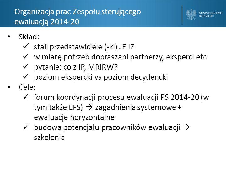 Organizacja prac Zespołu sterującego ewaluacją 2014-20 Skład: stali przedstawiciele (-ki) JE IZ w miarę potrzeb dopraszani partnerzy, eksperci etc.