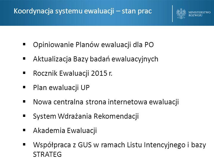Koordynacja systemu ewaluacji – stan prac  Opiniowanie Planów ewaluacji dla PO  Aktualizacja Bazy badań ewaluacyjnych  Rocznik Ewaluacji 2015 r.