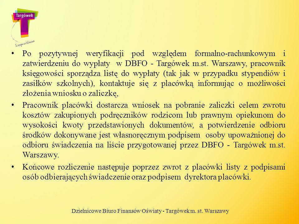 Po pozytywnej weryfikacji pod względem formalno-rachunkowym i zatwierdzeniu do wypłaty w DBFO - Targówek m.st. Warszawy, pracownik księgowości sporząd