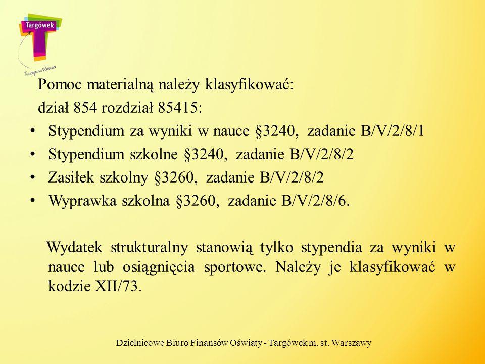 Pomoc materialną należy klasyfikować: dział 854 rozdział 85415: Stypendium za wyniki w nauce §3240, zadanie B/V/2/8/1 Stypendium szkolne §3240, zadani
