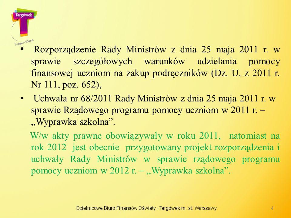 Rozporządzenie Rady Ministrów z dnia 25 maja 2011 r. w sprawie szczegółowych warunków udzielania pomocy finansowej uczniom na zakup podręczników (Dz.
