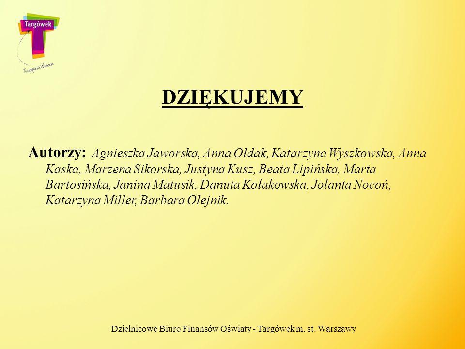 DZIĘKUJEMY Autorzy: Agnieszka Jaworska, Anna Ołdak, Katarzyna Wyszkowska, Anna Kaska, Marzena Sikorska, Justyna Kusz, Beata Lipińska, Marta Bartosińsk