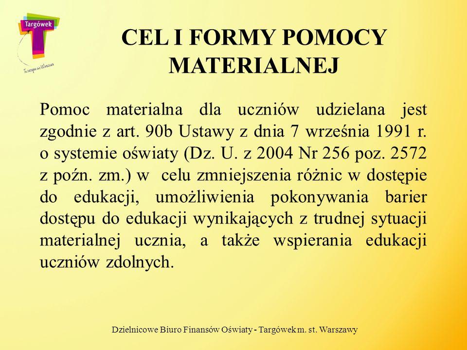 CEL I FORMY POMOCY MATERIALNEJ Pomoc materialna dla uczniów udzielana jest zgodnie z art. 90b Ustawy z dnia 7 września 1991 r. o systemie oświaty (Dz.