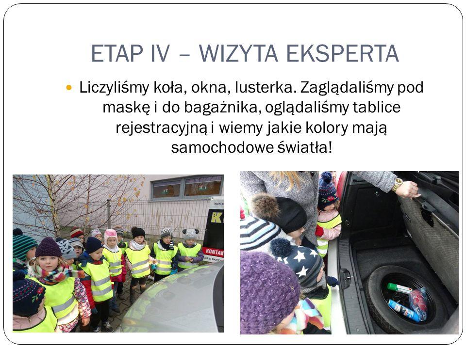 ETAP IV – WIZYTA EKSPERTA Liczyliśmy koła, okna, lusterka. Zaglądaliśmy pod maskę i do bagażnika, oglądaliśmy tablice rejestracyjną i wiemy jakie kolo