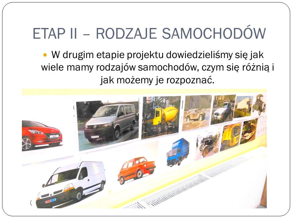 ETAP II – RODZAJE SAMOCHODÓW W drugim etapie projektu dowiedzieliśmy się jak wiele mamy rodzajów samochodów, czym się różnią i jak możemy je rozpoznać.