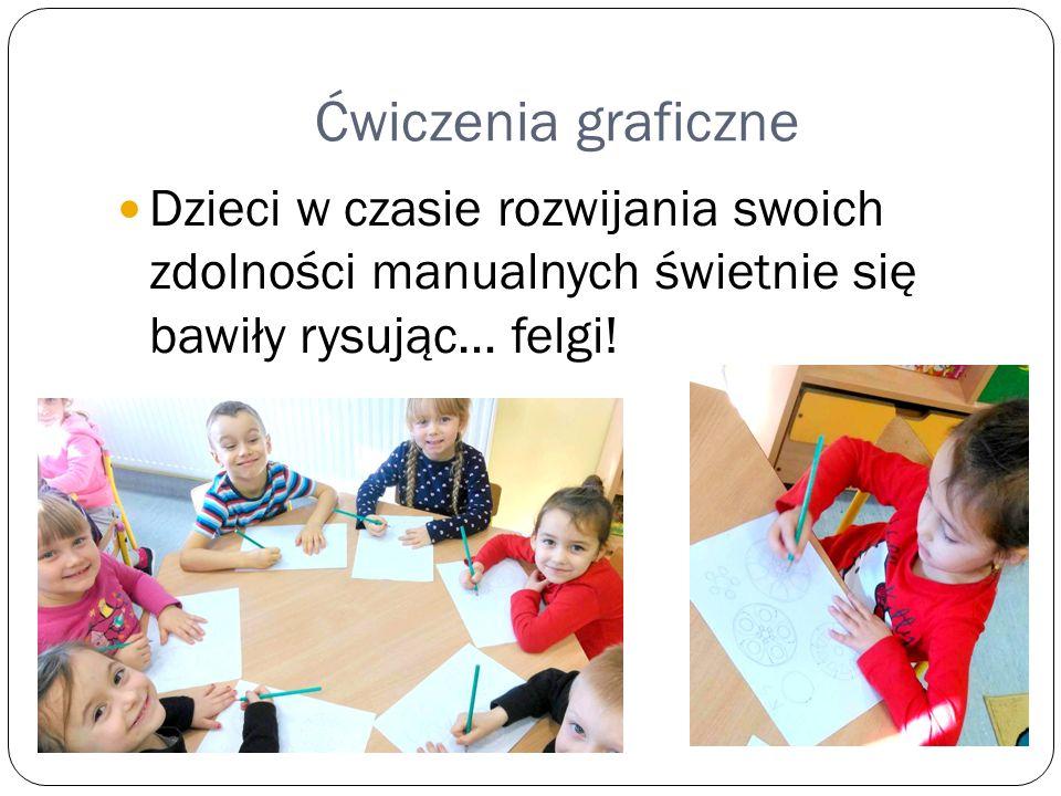Ćwiczenia graficzne Dzieci w czasie rozwijania swoich zdolności manualnych świetnie się bawiły rysując… felgi!