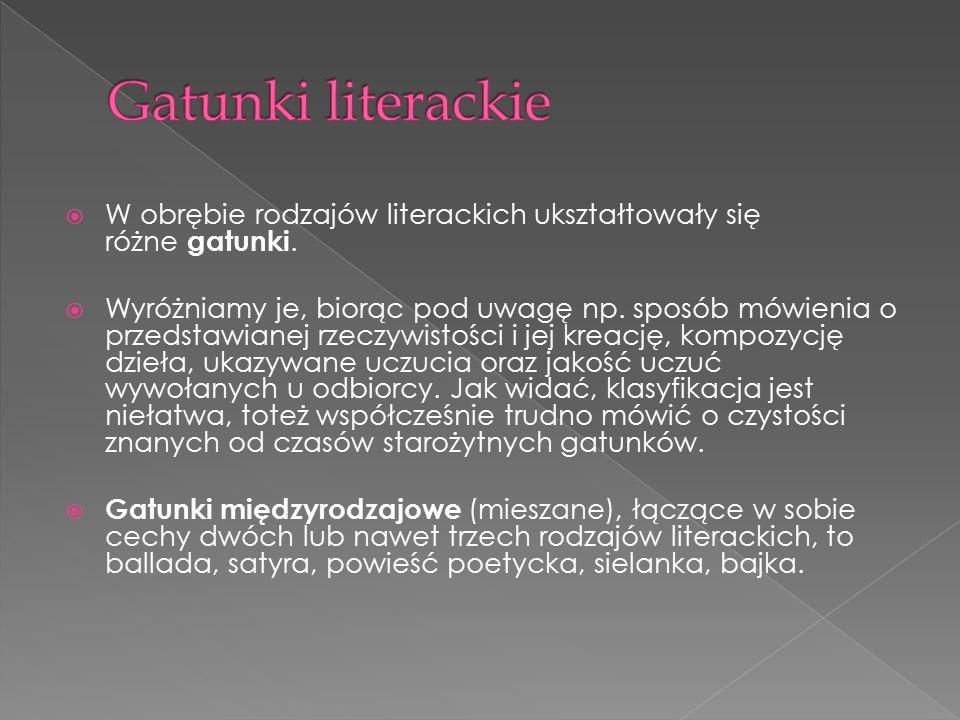  W obrębie rodzajów literackich ukształtowały się różne gatunki.  Wyróżniamy je, biorąc pod uwagę np. sposób mówienia o przedstawianej rzeczywistośc