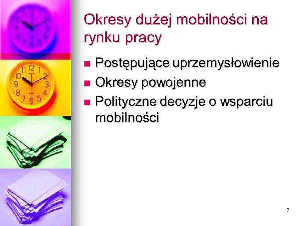 7 Okresy dużej mobilności na rynku pracy Postępujące uprzemysłowienie Postępujące uprzemysłowienie Okresy powojenne Okresy powojenne Polityczne decyzje o wsparciu mobilności Polityczne decyzje o wsparciu mobilności