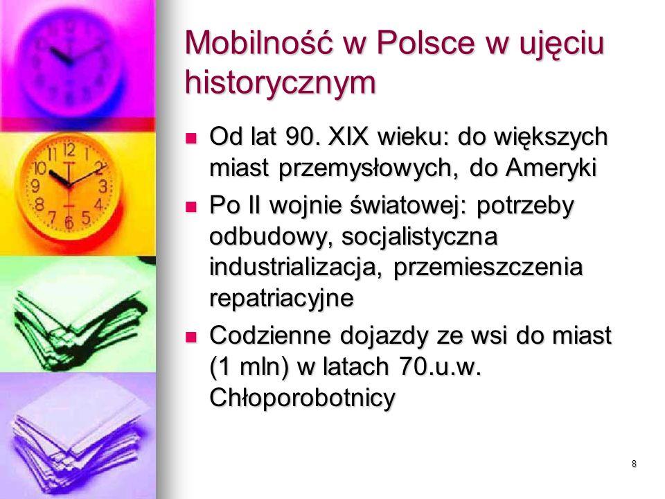 8 Mobilność w Polsce w ujęciu historycznym Od lat 90. XIX wieku: do większych miast przemysłowych, do Ameryki Od lat 90. XIX wieku: do większych miast
