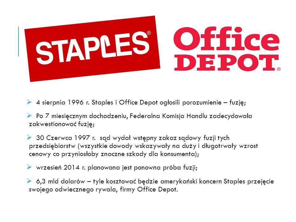 FEDERALNA KOMISJA HANDLU STWIERDZA, ŻE… - Staples i Office Depot osiągają świetne wyniki działając samodzielnie; - przedsiębiorstwa powinny postawić na rozwój wewnętrzny, nie jest im potrzebna fuzja, żeby osiągać większe zyski; - Staples i Office Depot nie przedstawiają prawdziwych sprawozdań co budzi niepokój FTC;