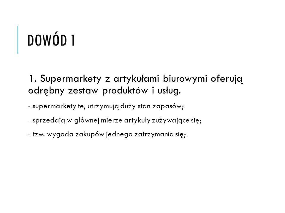 DOWÓD 1 1. Supermarkety z artykułami biurowymi oferują odrębny zestaw produktów i usług.