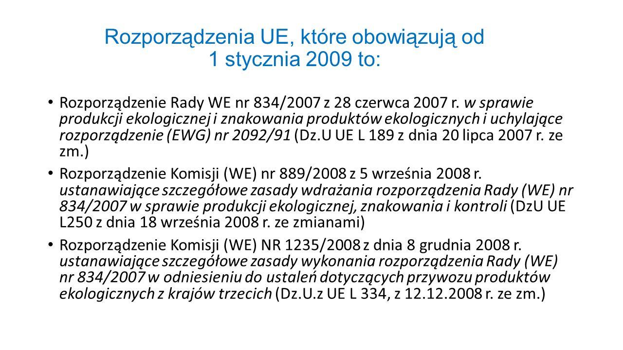 Rozporządzenia UE, które obowiązują od 1 stycznia 2009 to: Rozporządzenie Rady WE nr 834/2007 z 28 czerwca 2007 r. w sprawie produkcji ekologicznej i