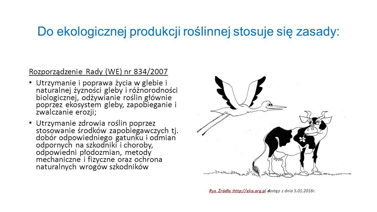 Do ekologicznej produkcji roślinnej stosuje się zasady: Rozporządzenie Rady (WE) nr 834/2007 Utrzymanie i poprawa życia w glebie i naturalnej żyzności