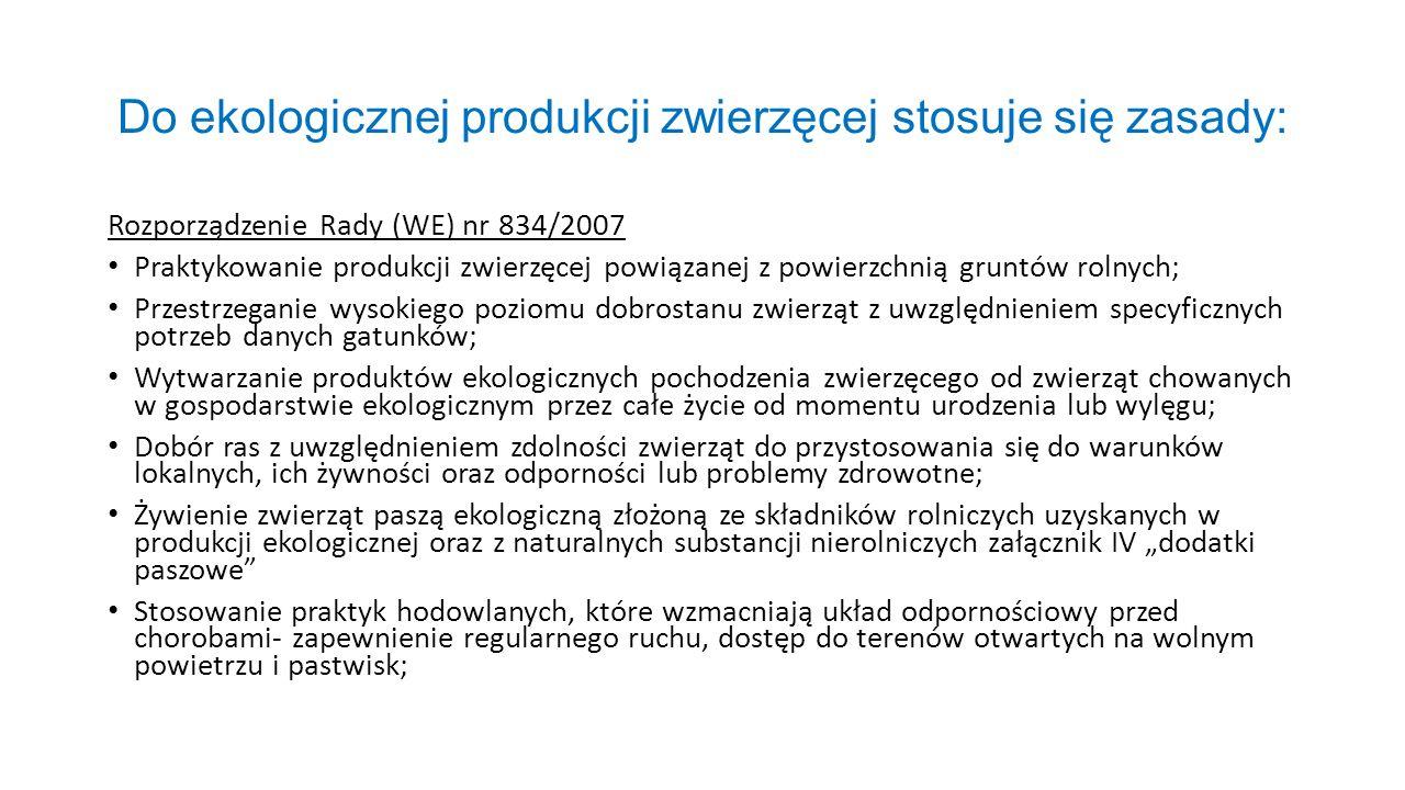 Do ekologicznej produkcji zwierzęcej stosuje się zasady: Rozporządzenie Rady (WE) nr 834/2007 Praktykowanie produkcji zwierzęcej powiązanej z powierzc