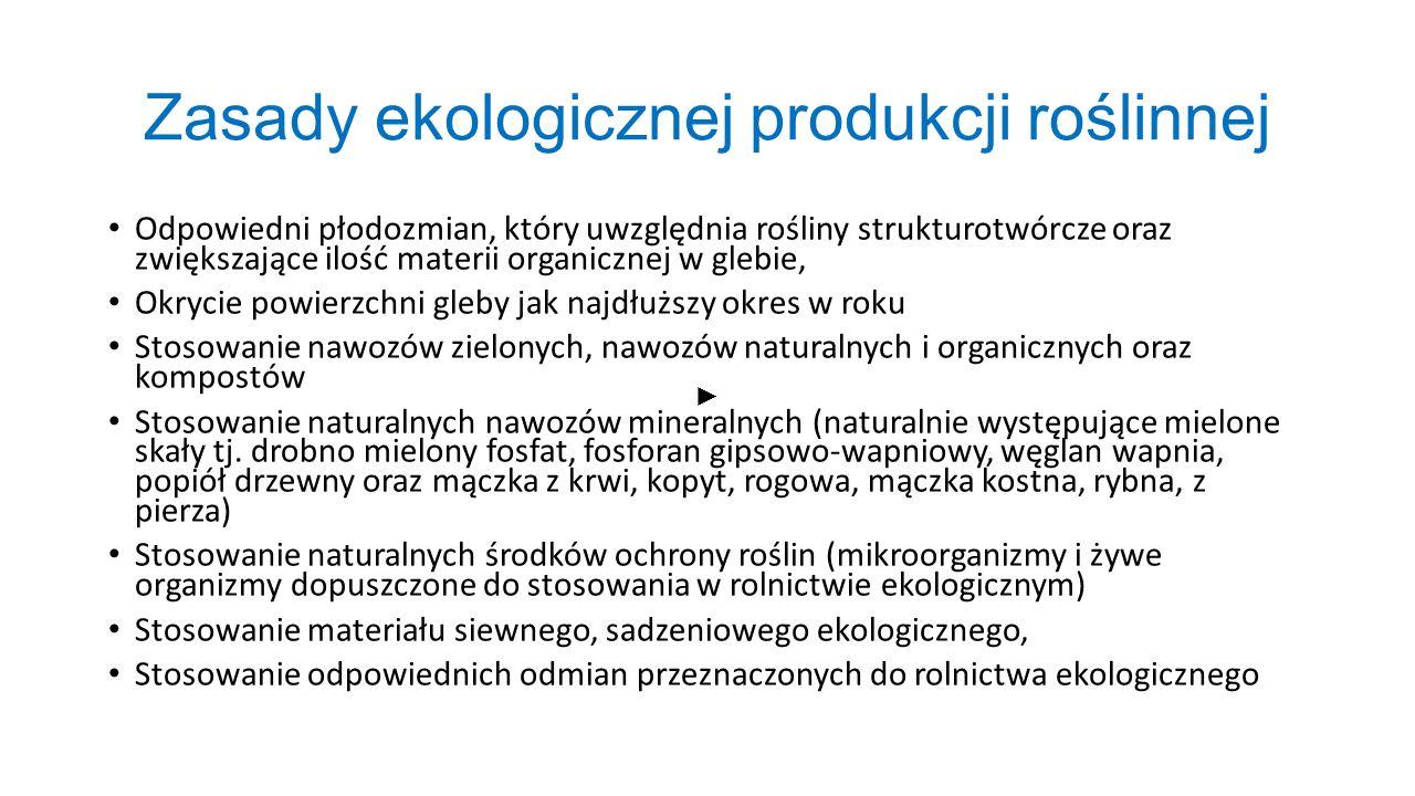 Zasady ekologicznej produkcji roślinnej Odpowiedni płodozmian, który uwzględnia rośliny strukturotwórcze oraz zwiększające ilość materii organicznej w