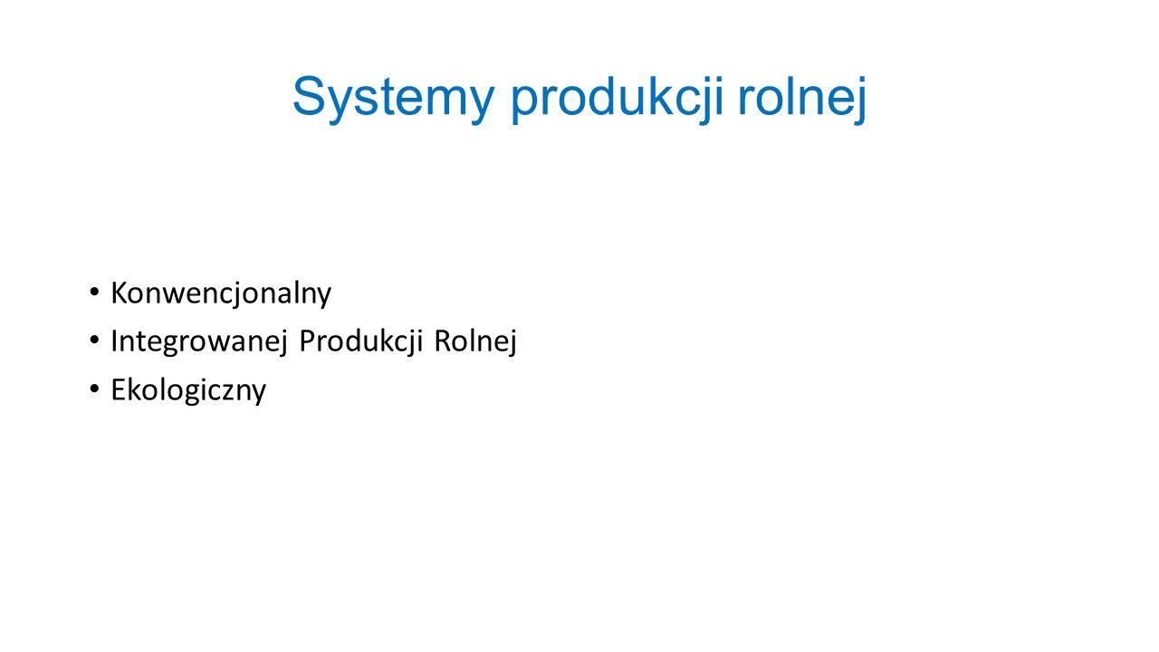 Systemy produkcji rolnej Konwencjonalny Integrowanej Produkcji Rolnej Ekologiczny