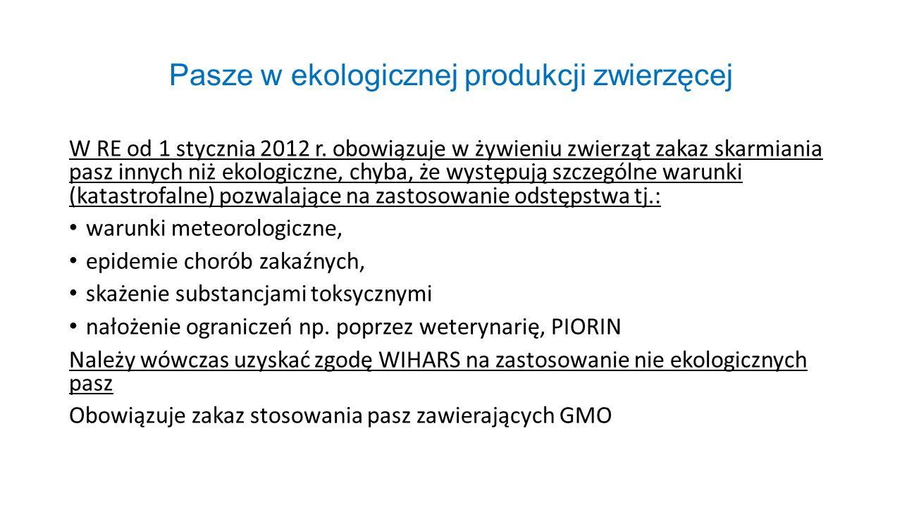 Pasze w ekologicznej produkcji zwierzęcej W RE od 1 stycznia 2012 r. obowiązuje w żywieniu zwierząt zakaz skarmiania pasz innych niż ekologiczne, chyb