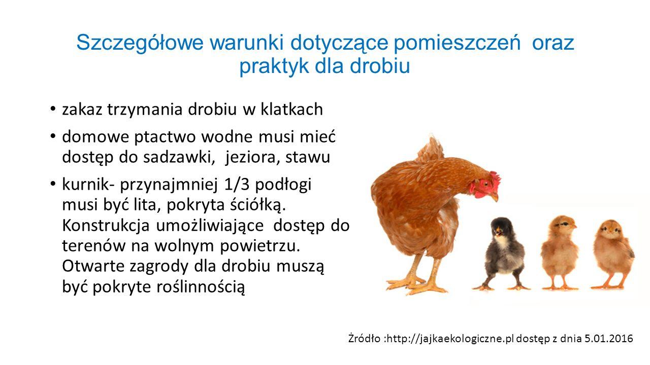 Szczegółowe warunki dotyczące pomieszczeń oraz praktyk dla drobiu zakaz trzymania drobiu w klatkach domowe ptactwo wodne musi mieć dostęp do sadzawki,