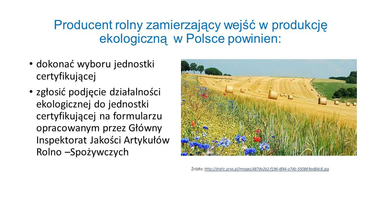 Producent rolny zamierzający wejść w produkcję ekologiczną w Polsce powinien: dokonać wyboru jednostki certyfikującej zgłosić podjęcie działalności ek