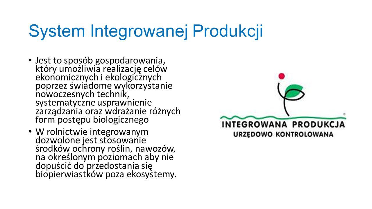 System Integrowanej Produkcji Jest to sposób gospodarowania, który umożliwia realizację celów ekonomicznych i ekologicznych poprzez świadome wykorzyst