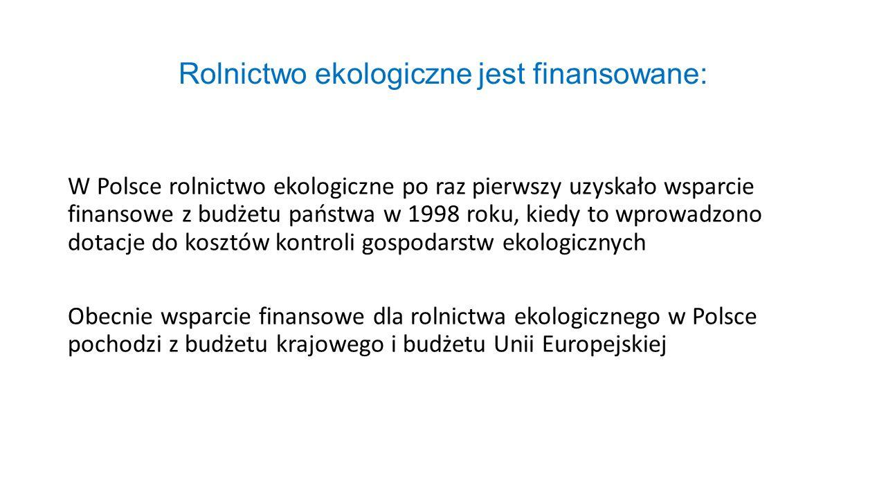 Rolnictwo ekologiczne jest finansowane: W Polsce rolnictwo ekologiczne po raz pierwszy uzyskało wsparcie finansowe z budżetu państwa w 1998 roku, kied
