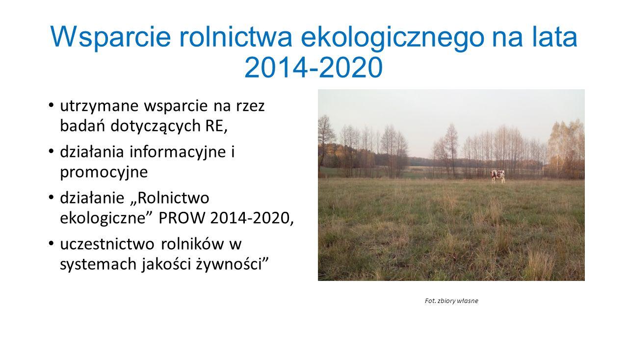 """Wsparcie rolnictwa ekologicznego na lata 2014-2020 utrzymane wsparcie na rzez badań dotyczących RE, działania informacyjne i promocyjne działanie """"Rol"""