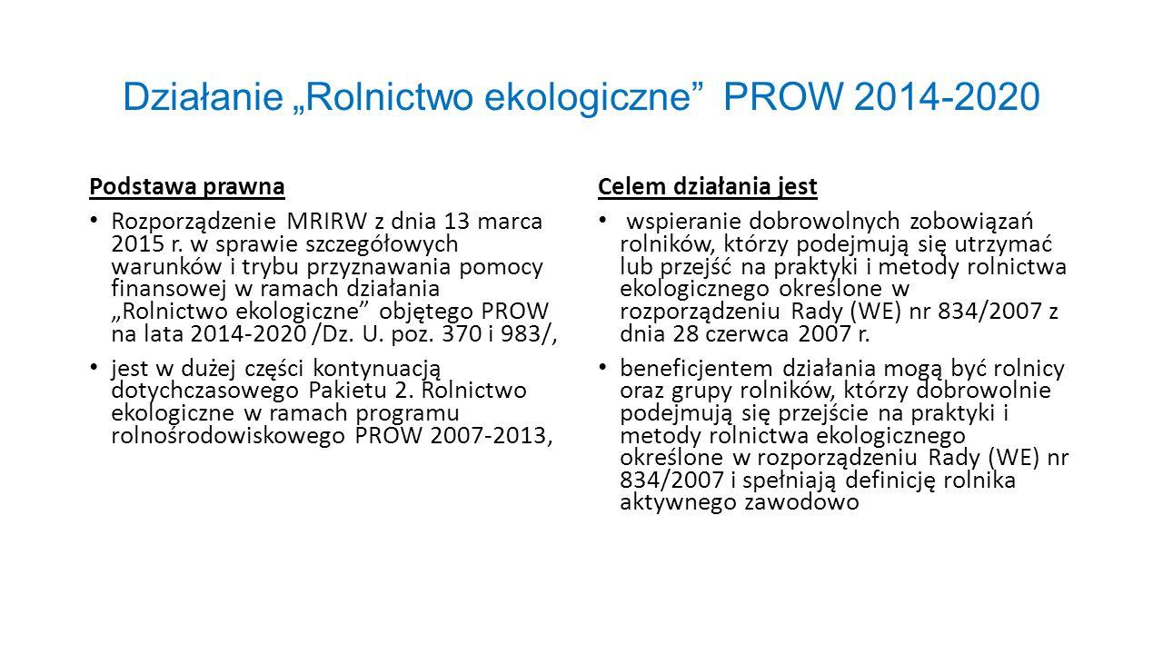 """Działanie """"Rolnictwo ekologiczne"""" PROW 2014-2020 Podstawa prawna Rozporządzenie MRIRW z dnia 13 marca 2015 r. w sprawie szczegółowych warunków i trybu"""
