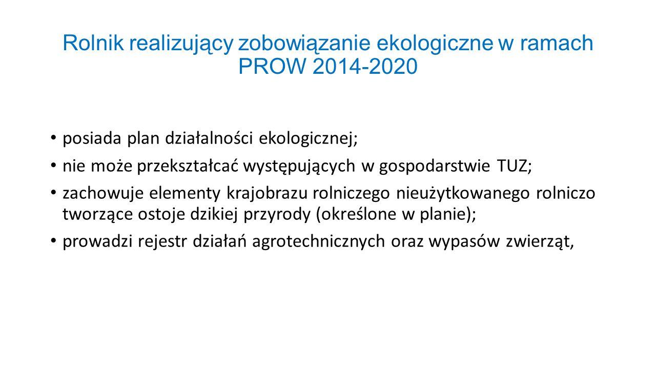 Rolnik realizujący zobowiązanie ekologiczne w ramach PROW 2014-2020 posiada plan działalności ekologicznej; nie może przekształcać występujących w gos