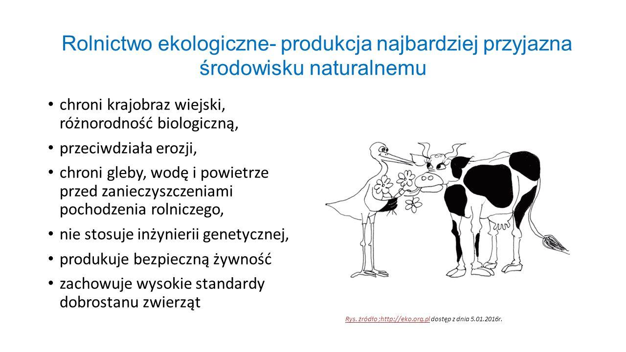 Rolnictwo ekologiczne- produkcja najbardziej przyjazna środowisku naturalnemu chroni krajobraz wiejski, różnorodność biologiczną, przeciwdziała erozji