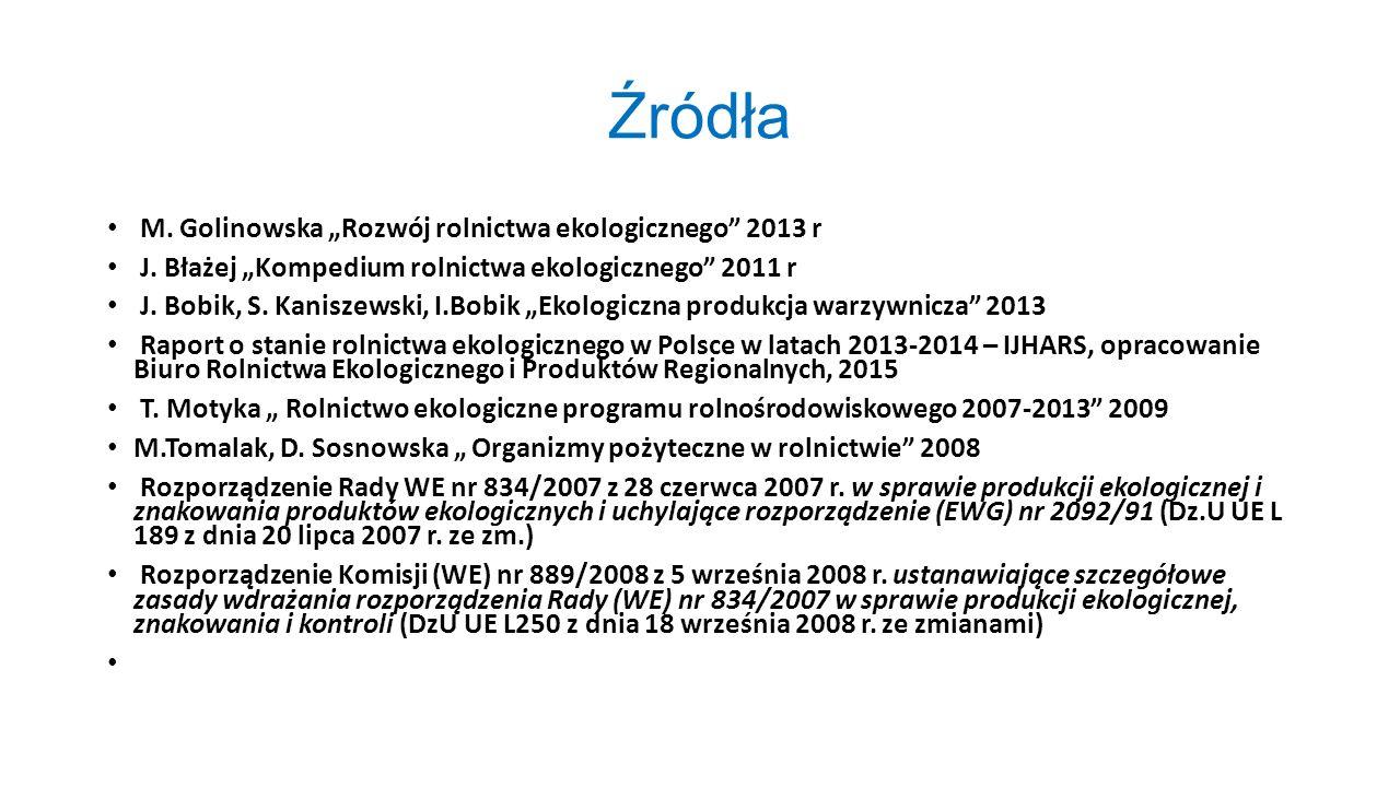 """Źródła M. Golinowska """"Rozwój rolnictwa ekologicznego"""" 2013 r J. Błażej """"Kompedium rolnictwa ekologicznego"""" 2011 r J. Bobik, S. Kaniszewski, I.Bobik """"E"""